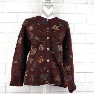 Talbots XL embroidered wool cardigan burgundy